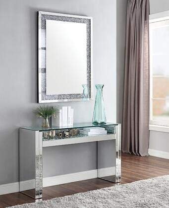 Nysa Collection 814732SET 2 PC Living Room Set with Sofa Table and Rectangle Shaped Mirror in Mirrored