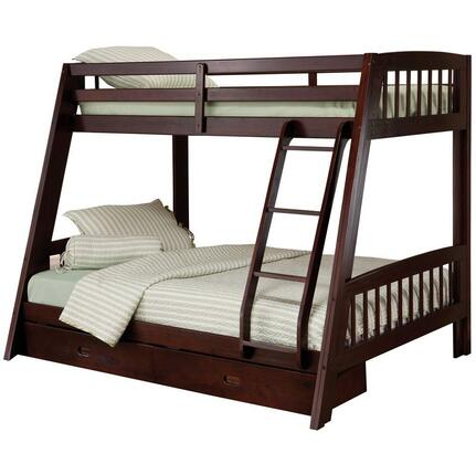 1668BB Rockdale Twin Over Full Size Bunk Bed with Under-Bed Storage Drawers  Ladder  Pine and Plywood Construction in Espresso