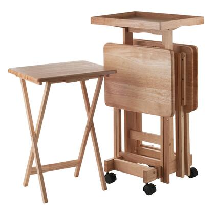 Isabelle 42820 6-PC 6-PC Snack Table Set with Removable Wood Tray  Casters and 2 Locking Wheels in 810301