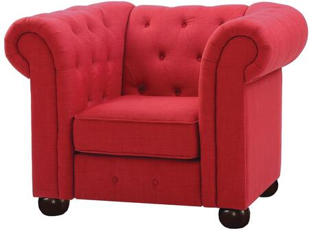 G521-C 48 inch  Armchair with Dacron Wrapped Cushions  Removable Rolled Arms  Bun Feet  Fabric Upholstery  Tufted Back And Front Rail in Red