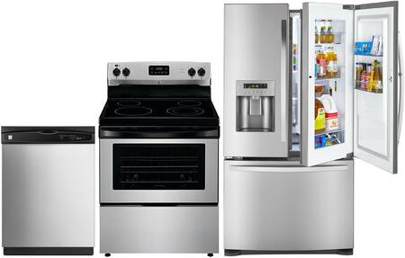 4-Piece Stainless Steel Kitchen Package with 73063 French Door Refrigerator  93013 Freestanding Electric Range  80323 Over-the-Range Microwave and