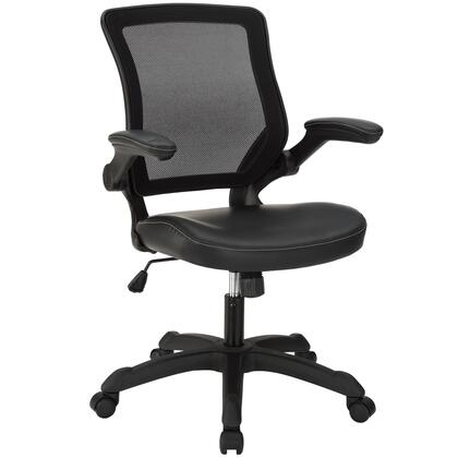Veer Collection EEI-291-BLK Office Chair with Pneumatic Height Adjustment  Flip-Up Arms  Tilt Tension Control  Breathable Mesh Back and Vinyl Seat Upholstery