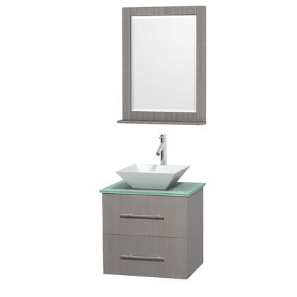 Wcvw00924sgoggd2wm24 24 In. Single Bathroom Vanity In Gray Oak  Green Glass Countertop  Pyra White Porcelain Sink  And 24 In.