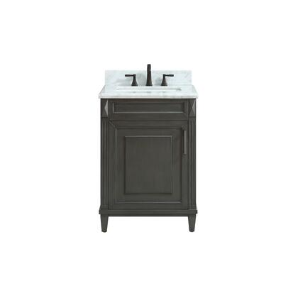 STERLING-VS24-CL-C Sterling 25 inch  Vanity in Charcoal Finish with Carrera White Marble