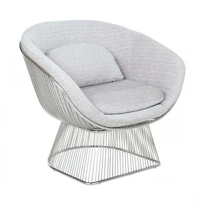 Calhoun FV353TWGREY Lounge Chair with Stainless Steel Frame  Stitched Detailing and Fabric Upholstery in Twill Grey and