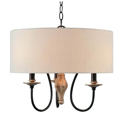 Lisbeth 93843WW 3-Light Drum Chandelier with 3- Candelabra Base Sockets  60 Watt Maximum Each  18