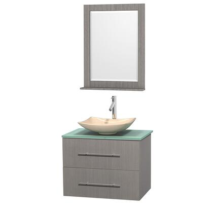 Wcvw00930sgogggs5m24 30 In. Single Bathroom Vanity In Gray Oak  Green Glass Countertop  Arista Ivory Marble Sink  And 24 In.