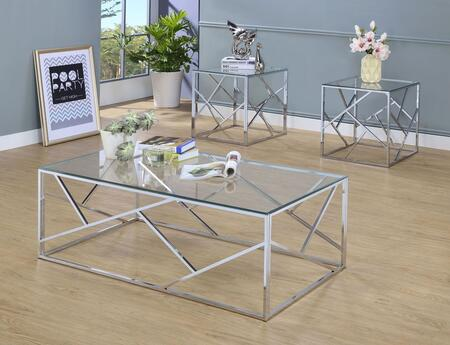 Pamplona Collection CM4017CRM-3PK 3-Piece Living Room Table Set with Coffee Table and 2 End Tables in