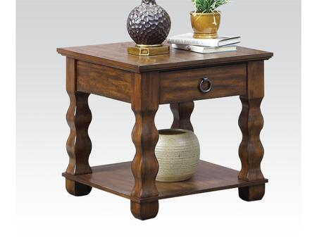 Martha Collection 80766 26 inch  End Table with 1 Drawer  Bottom Shelf and Metal Hardware in Cherry Brown