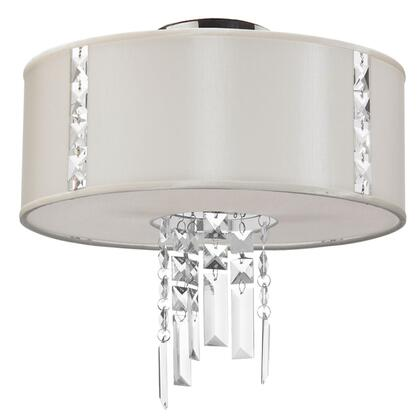 RTA-12SF-PC-840 2 Light Semi Flush With Crystal Accents  Polished Chrome Finish  Silk Glow Pearl Drum Shade With Fabric