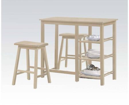 Nyssa Collection 73052 3 PC Counter Height Dining Set with 3 Slatted Shelves  Wood Saddle Stool Seat  Rubberwood and Okumi Veneer Materials in Buttermilk