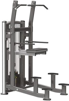 E-4562 Titanium Series 9320 Weight Assisted Chin/Dip Machine with 200 lbs. Incremental Weight Stack  Military Grade Cables and High-Tech Oval Tubing in Black