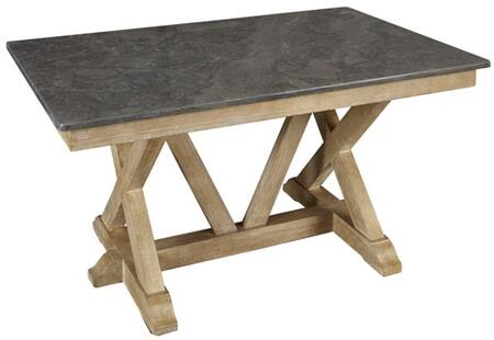 West Valley WVARW6300 60 inch  Rectangular Dining Table with Bluestone Top  Solid Poplar Construction and Light Distressing in Rustic Wheat
