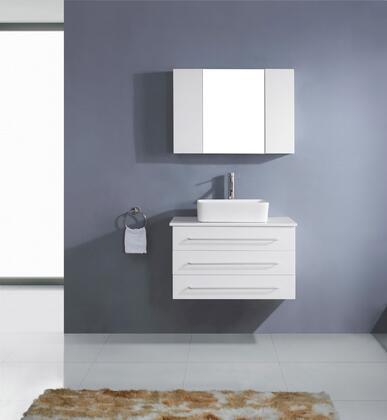 UM-3057-S-WH-001 Modern 32 Single Sink Bathroom Vanity Set White w/Brushed Nickel