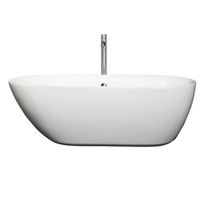 WCOBT100065ATP11BN 65 in. Center Drain Soaking Tub in White with Floor Mounted Faucet in Brushed