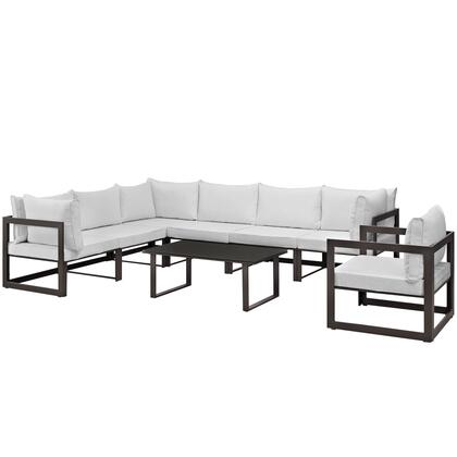 Fortuna Collection EEI-1736-BRN-WHI-SET 8-Piece Outdoor Patio Sectional Sofa Set with Coffee Table  Single Sofa  3 Center Sections and 3 Corner Sections in