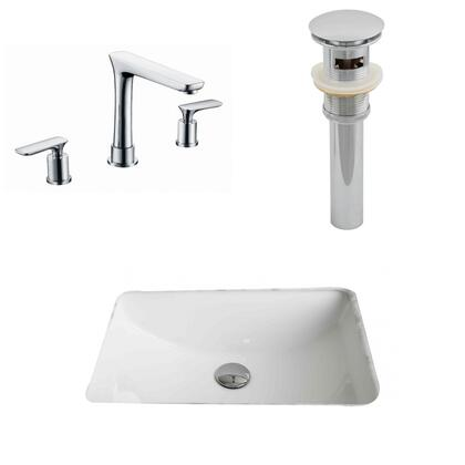 AI-13263 20.75-in. Width x 14.35-in. Diameter CUPC Rectangle Undermount Sink Set In White With 8-in. o.c. CUPC Faucet And