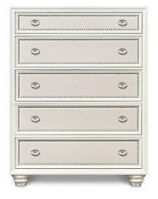 B2344-10 Diamond Collection 5 Drawer Chest in High Gloss White