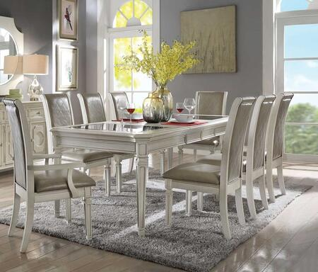 Florissa Collection 620909SET 9 PC Dining Room Set with Dining Table + 2 Arm Chairs + 6 Side Chairs in Antique White