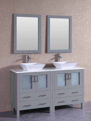 AGR230S 60 inch  Double Vanity with Phoenix Stone Top  Flared Square White Ceramic Vessel Sink  F-S02 Faucet  Mirror  4 Doors and 4 Drawers in