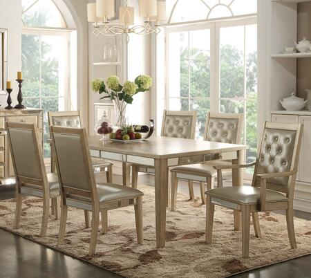 Voeville Collection 610007TC 7 PC Dining Room Set with Dining Table  4 Side Chairs and 2 Arm Chairs in Antique White
