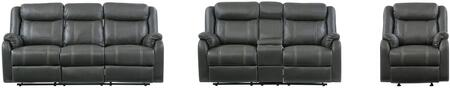 U7303C-RSCRLSGRC 3-Piece Living Room Set with Reclining Sofa  Reclining Loveseat and Recliner in Gin Rummy