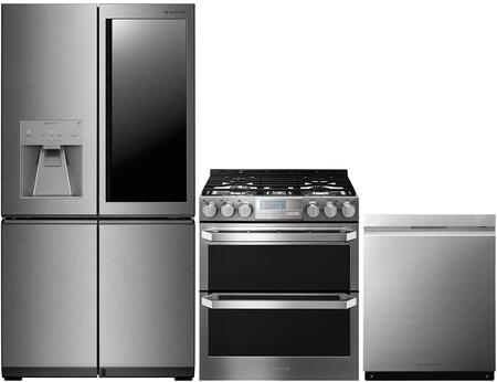 4-Piece Stainless Steel Kitchen Package with LUPXS3186N 36 inch  French 4 Door Refrigerator  LUTG4519SN 30 inch  Slide-In Gas Range and LUDP8997SN 24 inch  Fully Integrated