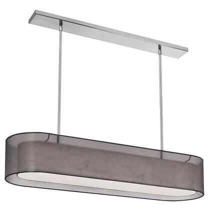 MEL448-SC-815 4 Light Oval Pendant  Shade Within A Shade  Satin Chrome  Outside Shade Black Laminated Organza  Inside Shade White