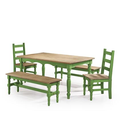 CSJ204 Jay 5-Piece Solid Wood Dining Set with 2 Benches  2 Chairs  and 1 Table in Green