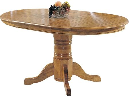 Nostalgia Collection 02185T 42 inch  - 60 inch  Dining Table with 18 inch  Extension Leaf  Pedestal Base  Rubberwood and Wood Veneer Materials in Oak