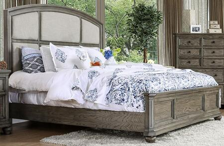 Armus Wire-Brushed Gray Fabric/Wood Queen Bed by Furniture of America