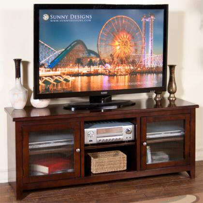 "3447CA-62R 62"""" TV Console with 2 Rib Glass Doors and 3 Adjustable Shelves in Cappuccino"" 255801"