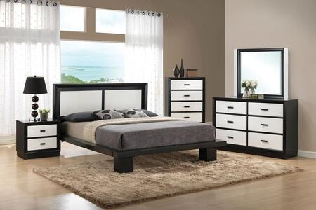 Debora 20607EK5PC Bedroom Set with Eastern King Size Bed + Dresser + Mirror + Chest + Nightstand in Black and White