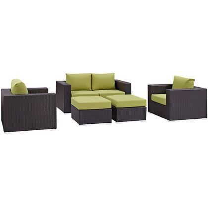 Convene Collection EEI-2158-EXP-PER-SET 5-Piece Outdoor Patio Sofa Set with Loveseat  2 Armchairs and 2 Ottomans in