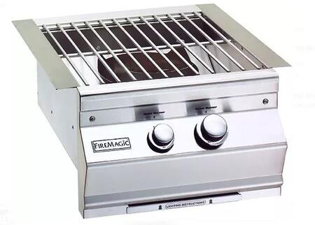 """19SLB1N0 Aurora 19"""""""" Power Burner with Stainless Steel Grid and Hot Surface Ignition System (120v)  Up to 60 000 BTUs  Natural Gas in Stainless"""" 676003"""
