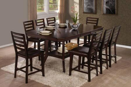 Bobbie Collection P832-RECTCT8SC 9-Piece Dining Room Sets with Rectangular Counter Height Table and 8 Counter Height Chairs in Dark
