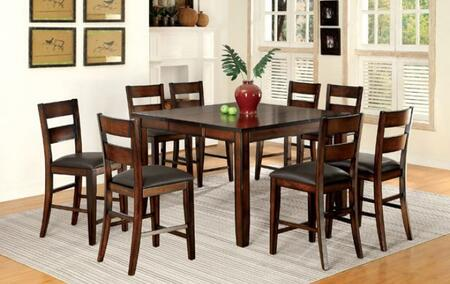 Dickinson II CM3187PT8PC 9-Piece Dining Room Set with Counter Height Rectangular Table and 8 Counter Height Side Chairs in Dark Cherry