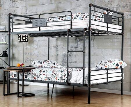 Olga I Collection CM-BK913FF-BED Full Size Bunk Bed with Attached Ladder  Slats Top and Bottom  Industrial Design and Full Metal Construction in Antique Black