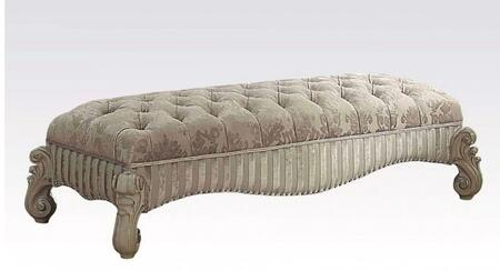 Versailles Collection 96540 65 inch  Rectangular Bench with Button Tufted Padded Seat  Ivory Fabric Upholstery  Nailhead Trim  Scrolled Legs and Apron in Bone