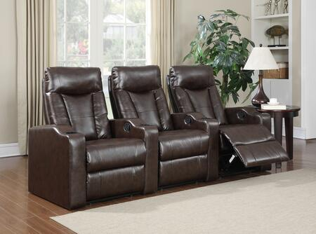 Camden Collection 3 Seat Recliner Theater Set with Sinuous Seat Spring  Grade Deluxe Foam Cushions  Wood Frame and Bonded Leather Upholstery in Brown