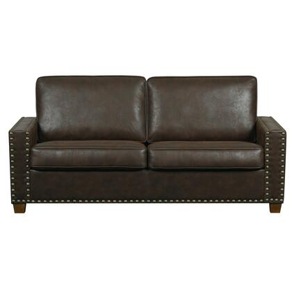 DSD023680041 Rustic Walnut Faux Leather Two Cushion Sofa In