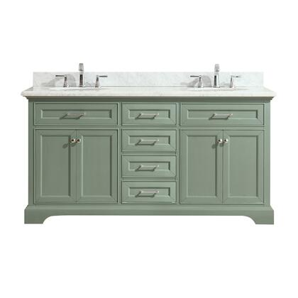 MERCER-VS72-SG-C Mercer 73 inch  Double Sink Vanity in Sea Green Finish with Carrera White Marble
