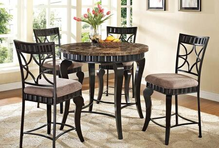 Galiana 18290T4C Bar Table Set with Counter Height Table + 4 Chairs in Black with Gold Brushed