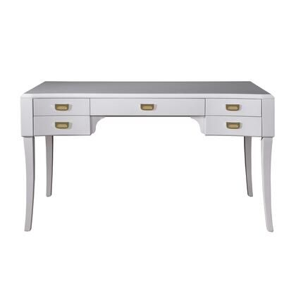 DSD153802 Contemporary High Gloss White Five Drawer Accent Desk