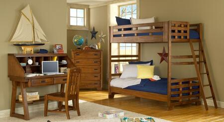 Heartland 1800-33BNK-DKCHCS 4-Piece Bedroom Sets with Twin Bunk Bed with Ladder  Desk with Hutch  Chair  and Chest of Drawers in Spice