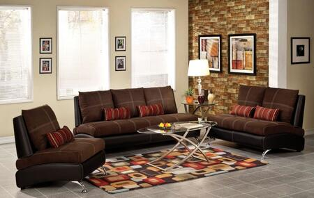 Jolie 51760SLC 3 PC Living Room Set with Sofa + Loveseat + Chair in Chocolate