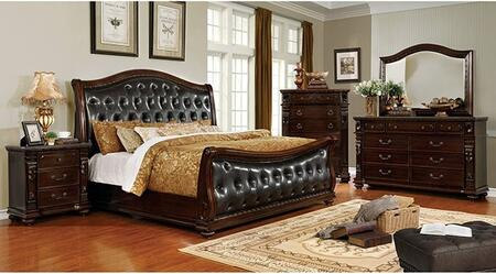 Fort Worth Collection CM7858CKBDMCN 5-Piece Bedroom Set with California King Bed  Dresser  Mirror  Chest  and Nightstand in Dark Cherry