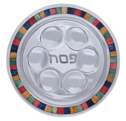 PT-518 13 inch  x 13 inch  Round Handmade Passover Plate with Center Inscription  Aluminum Frame and Decorative Color Inlay in Bright