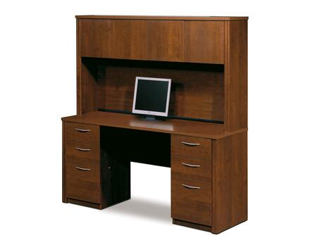 60851-63 Embassy Credenza and Hutch Kit with Scratch and Stain Resistant Surface and Simple Pulls in Tuscany