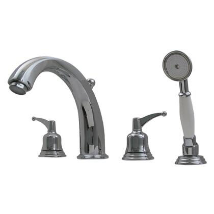 514433TFC Blairhaus Adams deck mount tub filler set with smooth lined arcing spout  bell-shaped lever handles  beveled escutcheons  hand held shower with white
